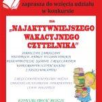 Biblioteka Publiczna w Budzowie zaprasza do wzięcia udziału w konkursie na Najaktywniejszego Wakacyjnego Czytelnika. Serdecznie zapraszamy wszystkich, którzy w czasie wakacji będą wypożyczać zgodnie z regulaminem konkursowym i czytać książki. Konkurs trwa od 28 czerwca do 31 sierpnia 2021 r.