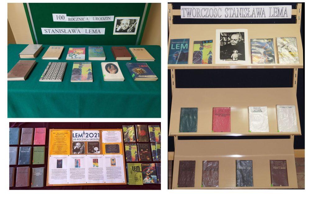 Wystawa książek autorstwa Stanisława Lema